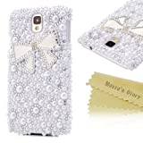 Mavis's Diary 3D Handmade Bling Crystal Bow Diamond Pearl Design Case Cover Rhinestone Hard with Soft Clean Cloth (Samsung Galaxy Note 3 SM-N9000), Office Central