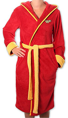 Wonder Woman - Adult Fleece Bathrobe (Uniform Size M/L) (Embroidered Logo) by DC Comics
