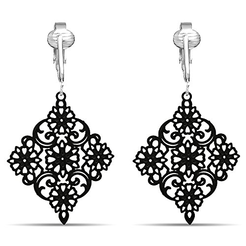 (Lovely Victorian Filigree Clip On Earrings for Women Clip-ons, Lightweight Teardrop Leaf Dangle (Black Drop))