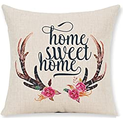 Nordic Simple Hand-painted Flowers Bucks Antlers Home Sweet Home Cotton Linen Throw Pillow Case Personalized Cushion Cover NEW Home Office Bay Window Decorative Square 18 X 18 Inches