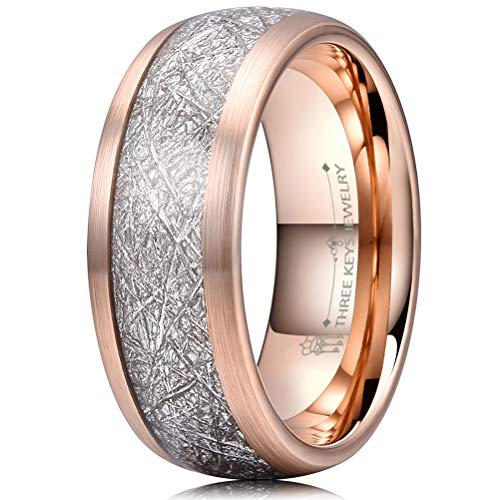 Three Keys 8mm Tungsten Wedding Ring for Men Domed Imitated Meteorite Inlay Brushed Rose Gold Mens Meteorite Wedding Band Engagement Ring Promise Ring Size 10