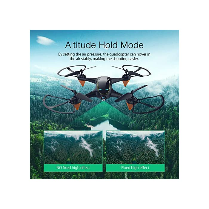 51Kv7HWzBML Tome fotos y videos HD, disfrute de la función FPV: el dron E58 está equipado con una cámara HD 720P de gran angular de 120 ° que incluye ángulo ajustable, que captura videos de alta calidad y fotos aéreas claras. El sistema FPV de transmisión en tiempo real de Wi-Fi se puede conectar a su teléfono con el dron y la vista se mostrará directamente en su teléfono, por lo tanto, disfrute del mundo por encima del horizonte, capture con precisión fotos y grabe videos para momentos extraordinarios. Puede llevarse alrededor y brazo de dron reemplazable: el pequeño fuselaje contiene un rendimiento excelente, un diseño plegable inteligente, le permite viajar ligero, disfrutar de la diversión de vuelo. El brazo del dron es reemplazable, cuando el motor o el brazo del dron están rotos, no necesita preocuparse de que el dron ya no funcione. Simplemente reemplace el brazo del dron y puede volar nuevamente. Es fácil para todos volar el dron: en el modo de retención de altitud, puede bloquear con precisión la altura y la ubicación, desplazarse estable y capturar videos o fotos desde cualquier ángulo de disparo, lo que hace que la experiencia sea muy fácil y conveniente, incluso un novato, puede jugar dis drone fácilmente. El dron despega automáticamente y aterriza con un clic, lo cual es muy útil. Hay una función de aterrizaje de emergencia para evitar colisiones con otras cosas.