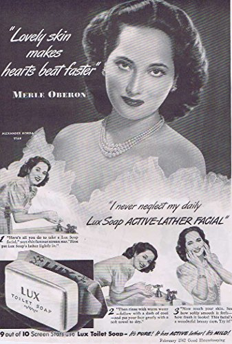 Lux Toilet Soap 1942 Original Advertisement with Beautiful Merle Oberon