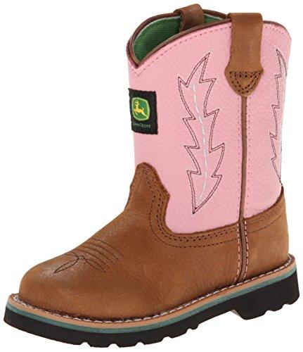 John Deere 1185 Western Boot (Toddler),Tan/Pink,5 M US Toddler