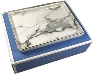 Jewelry Dish Tray | Marble Pattern Ceramic Dish Key Plate Holder or Key Tray Silver Edge | Wrapped in Decorative Gift Box