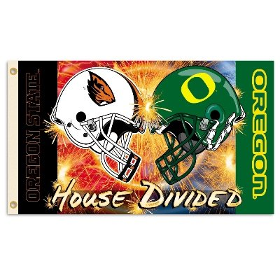 Ncaa Rivalry House (NCAA Oregon - Oregon State Rivalry House Divided Flag with Grommets, 3' x 5', Multicolor)