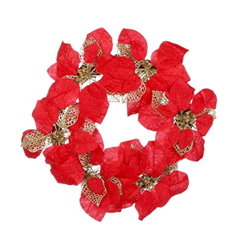 Gotd Christmas Party Leaf Door Wall Decoration Window Ornament Garland Wreath (Red) by Goodtrade8
