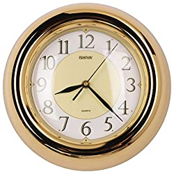 11-inch New Designed Finest 3D Atomic Style Metal Wall Clock, Convex Glass Lens, Home Decor (WM0597 Gold-plated)