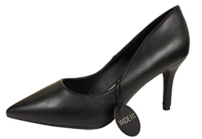 c8608a1b807e5 City Classified Women's Comfort Pointed Wide Width Slip-On Dress Pumps,  Black Leatherette 8 W US