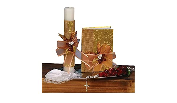 Amazon.com: DALAMODA Baptism Candle Set 6pcs- Party Pack - Baptism Accessory, for Girl, Boy, or Unisex : Candle, Bible, Dry Cloth(Gold): Home & Kitchen