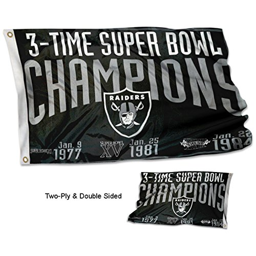 WinCraft Oakland Raiders Double Sided 3 Time Super Bowl Champions Flag