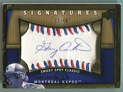 (2005 Upper Deck Sweet Spot Classic Signatures GARY CARTER Rare Red & Blue Stitch Baseball Signed Montreal Expos Auto HOF SP)