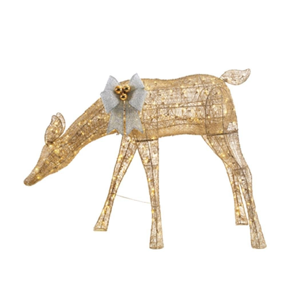 HUGE 54 in. Gold PVC Doe Christmas Decoration Reindeer 280 LED Lights by Home Accents