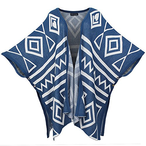 TLH Women's Plus Size Geometry Print Knitted Cardigan Poncho Cape Blue 2
