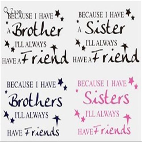 Dailinming PVC Wall Stickers Sister / Brother amp Friend Sticker Wall Decal 33X61CM