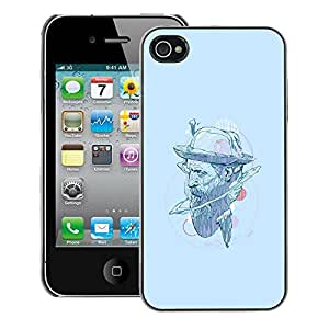 Snap-on Series Teléfono Carcasa Funda Case Caso para iPhone 4 / 4S , ( Hat Hipster )