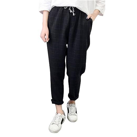 e58b6244f1 Plus Size Pants Womens Casual Plaid Trousers Elastic Waist Loose Full  Length Pants Black