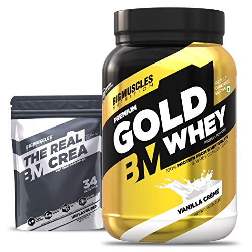 Bigmuscles Nutrition Premium Gold Whey 1Kg [Vanilla Crème] | Whey Protein Isolate & Whey Protein Concentrate | 25g…