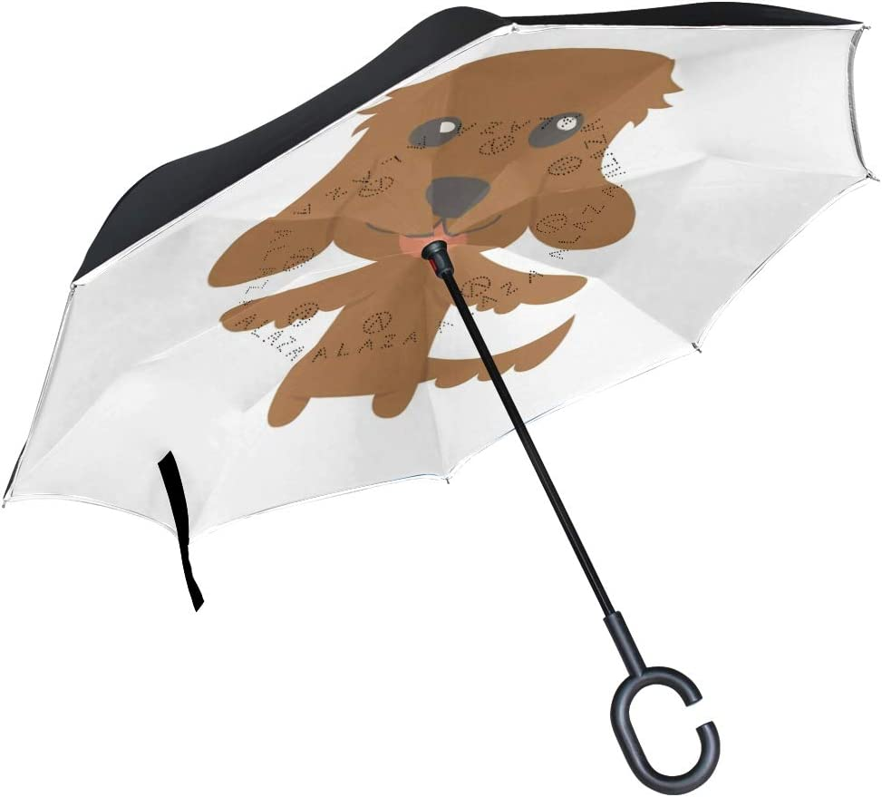 Inverted Umbrella with Cute Irish Setter Dog Print Car Reverse Folding Umbrella