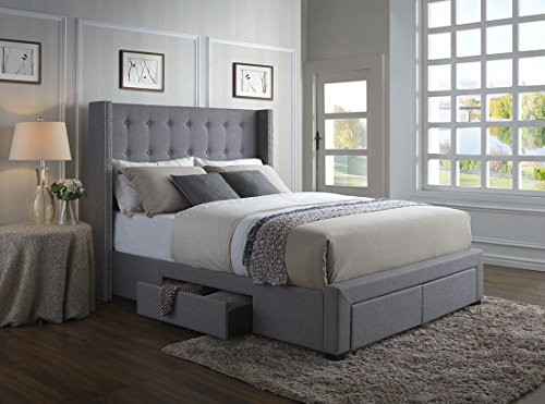 DG Casa 3850-K-GRY Savoy Tufted Upholstered Wingback Panel Storage Bed, King in Grey Fabric ()