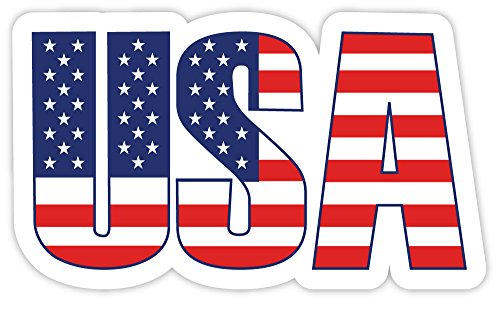 "USA United States of America flag letters sticker decal 5"" x"