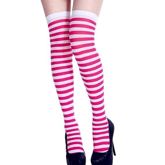 ZHRUI Mujeres de Halloween impresión de la Raya Tubo Largo Calcetines de la Rodilla Fiesta de Disfraces Vestido Divertido apoyos (Color : 2-Hot Pink): ...
