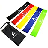 Resistance Loop Exercise Bands – Set of 5 – Workout Bands for Leg, Ankle, Stretching, Physical...