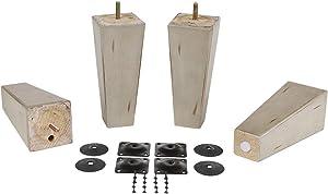 "ProFurnitureParts 7"" Inch Antique Gray Finish Square Tapered Pyramid Wood Sofa Legs Set of 4 w/Leg Plates"
