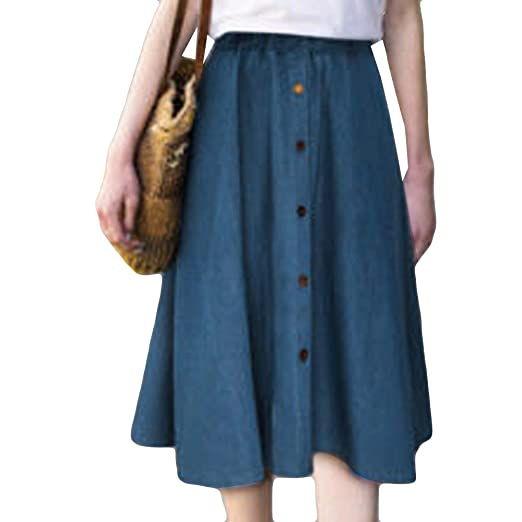 809aa9a79b Women Pleated Midi Skirts Elasticated Waist Button Demin A-Line Skirt at  Amazon Women's Clothing store:
