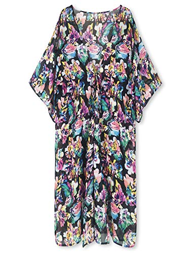 Moss Rose Women's Beach Cover up Swimsuit Kimono Cardigan with Bohemian Floral Print (Tropical Flower)