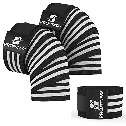 ProFitness Knee Wraps (Pair) with Velcro for Cross Training WODs,Gym Workout,Weightlifting,Fitness & Powerlifting - Best Knee Straps for Squats - For Men & Women- 72