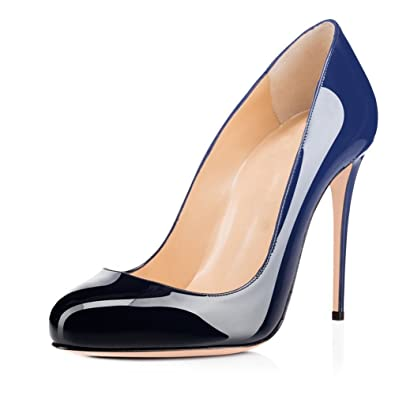 f801ed8d79 Joogo Round Toe Party Stilettos Slip On High Heels 4.7 inches Thin Heel  Classics Pumps Black