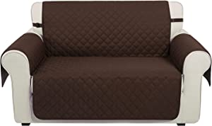 U-NICE HOME Reversible Loveseat Cover, Water Resistant Sofa Slipcover Furniture Protector for 2 Cushion Couch (Loveseat, Coffee)