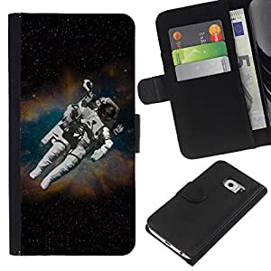 KingStore / Leather Etui en cuir / Samsung Galaxy S6 EDGE / Astronauta cosmonauta en el espacio