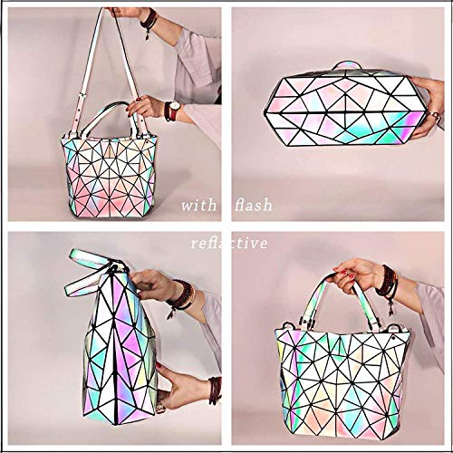 Women and Bags 1 Closure No Bag Luminous Holographic Satchel Messenger with Geometric Handle Zipper Purse Handbags Top for TS4qEXnW