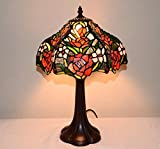 12''W Rose Flowers Stained Glass Tiffany Style Table Desk Lamp, Zinc Base!