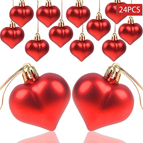 AOPOO Heart Ornament for Wedding Heart Shaped Ornaments for Home Birthday Party Decoration, 2 Types Matt and Glossy Surface (Red) -