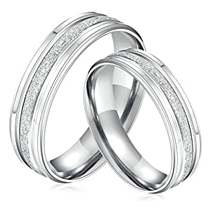 Amazon Gnzoe Mens Womens Stainless Steel Cz Rings Promise Wedding Engagement Bands Silver