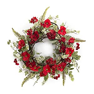 Melrose International, LLC Spring Floral Poppy and Geranium Wreath 25