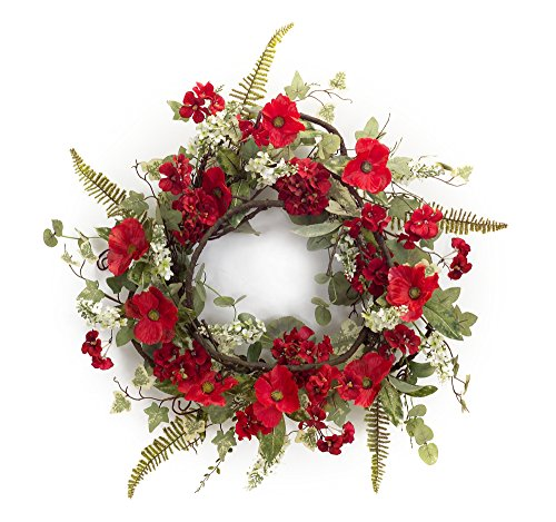 Melrose International, LLC Spring Floral Poppy and Geranium Wreath