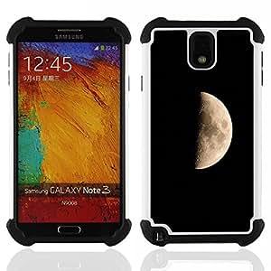 For Samsung Galaxy Note3 N9000 N9008V N9009 - Moon Dark Side Landscape Craters Universe Sky /[Hybrid 3 en 1 Impacto resistente a prueba de golpes de protecci????n] de silicona y pl????stico Def/ - Super