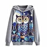 Hoodies Sweatshirt, Kimloog Womens Owl Print Raglan Sleeve Jumper Hooded Drawstring Pullover Cotton Tops (M, Gray)