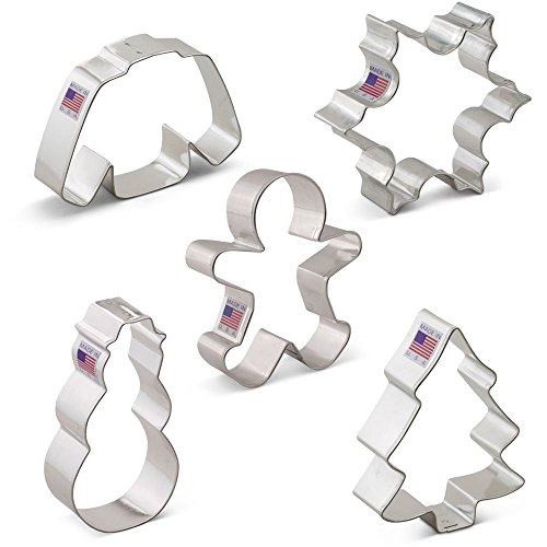Winter Christmas Cookie Cutter Set - 5 Piece - Snowflake, Wool Sweater, Snowman, Gingerbread Boy, Snow Covered Tree - Ann Clark - US Tin Plated Steel