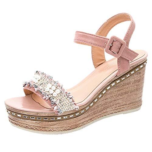 Zlolia Women's Pearl Belt Buckle Wedge Roman Sandal Heeled Studded Adjustable Ankle Strap Rubber Sole Platform Sandals