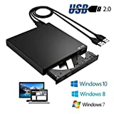 CDC® Black Slim USB2.0 External Player External USB + DVD Combo CD-R/RW CD-ROM/XA DVD-ROM Burner Drive + Power Cord , Supports CD Burning not Need CD-ROM Drive for Notebook, Desktop, Netbook, Laptop