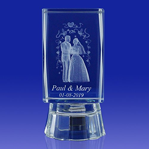 Wedding Ideas & Gifts Favors Personalized Custom Laser Etched Engraving 3D Wedding Crystal Cube Party Favors with Organza Bags/ Recuerdos Para Boda (3″H) (12 pieces)