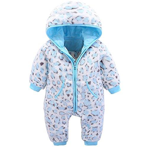 KINDOYO Bebé Unisexo Traje Mameluco con Capucha Animales Invierno Monos Jumpsuit Ropa de abrigo baby mameluco para Niños Niñas Pijamas , azul