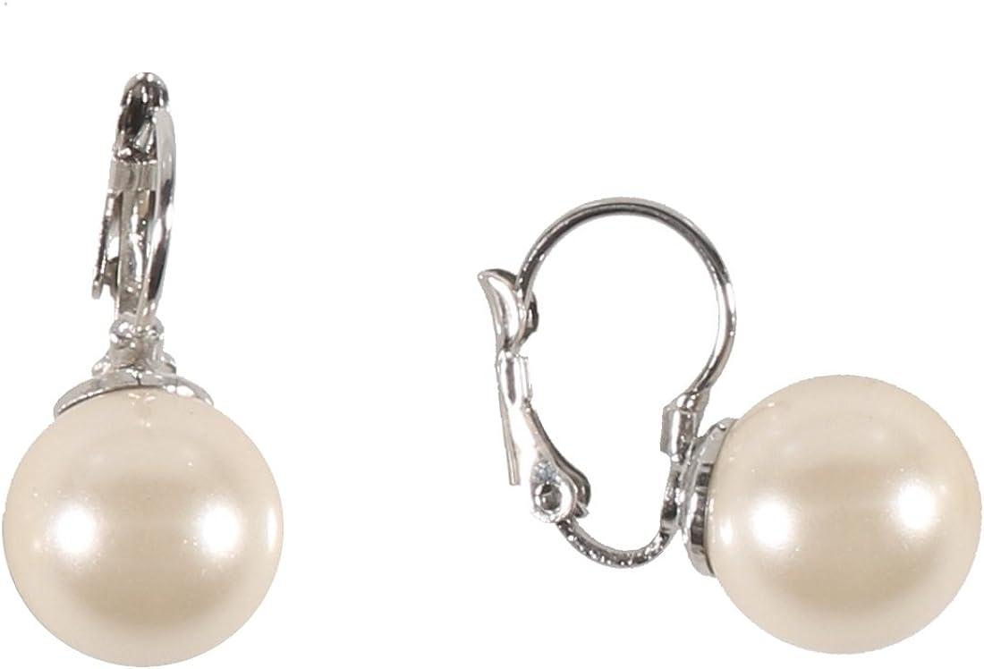 Pendientes de fantasía de metal plateado – Perla de 11 mm de cristal (blanco marfil) – Enganche dormido