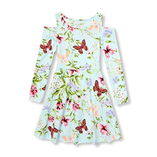 The Children's Place Big Girls Long Sleeve Pleated Dresses, Summer house-1208, XL (14)