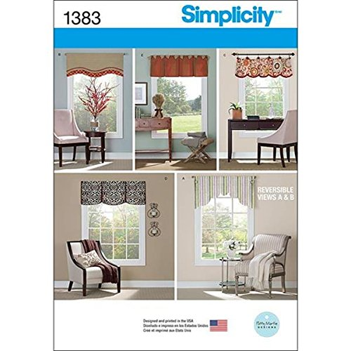 Simplicity Creative Patterns 1383 Valances for 36-Inch to 40-Inch Wide Windows